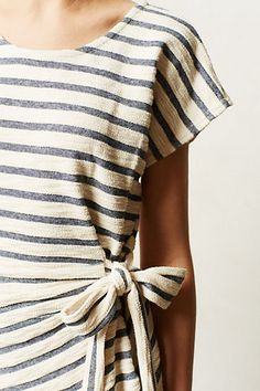 blue and white striped tee dress with tie waist (Isabel dress, Anthropologie)