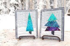 Winter Trees - new quilted greeting card pattern, just in time for Christmas, make it match your quilted gift Christmas Sewing Projects, Christmas Fabric, Christmas Crafts, Fabric Postcards, Fabric Cards, Diy Quilted Cards, Window Cards, Handmade Christmas Decorations, Winter Trees