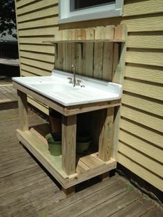 Previous Pinner Said: With My Old Kitchen Sink For The BBQ Patio!