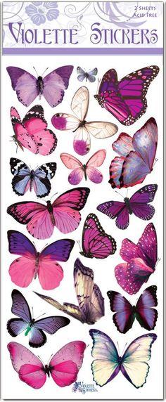 Pegatinas de mariposas púrpura para fabricar 2 hojas