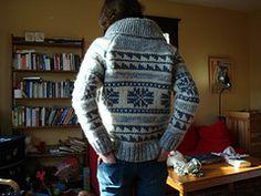 Pattern No. 6110 by White Buffalo Mills Ltd. from White Buffalo: The Canadian Yarn, Book 2 Cowichan Sweater, Men Sweater, Cardigan Pattern, Knit Cardigan, Learn To Crochet, Knit Crochet, Sweater Making, Sweater Design, Knitting Designs