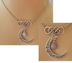 Silver Celtic Knot Moon Pendant Necklace Jewelry Handmade NEW Accessories #handmade