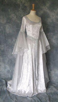 Medieval/Gothic/Renaissance/Larp/Elvish/Faery/Celtic Wedding Dress. $270.00, via Etsy.