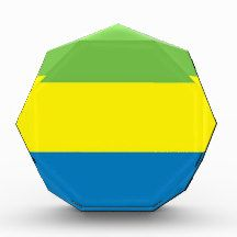 Flag of Gabon Award flag, nation, banner, award, gift, acrylic, octagon, country, zazzle, smallbiz, ecommerce, dww25921