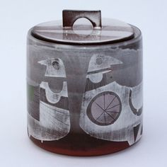 Lidded jar, by Karen McPhail. #pottery, #ceramics, #grey
