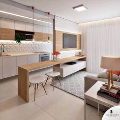 Kitchen Room Design, Home Room Design, Living Room Kitchen, Home Decor Kitchen, Interior Design Kitchen, Living Room Designs, Condo Design, Interior Modern, Small Apartment Interior