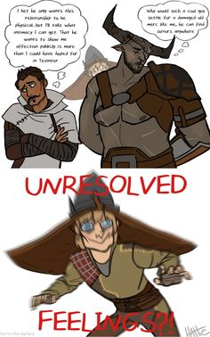 That moment in a mutual pining fic when Cole shows up and you just KNOW everything is about to be out in the open. Dragon Age Comics, Dragon Age Memes, Dragon Age Funny, Dragon Age Origins, Dragon Age Inquisition, The Iron Bull, Grey Warden, Geek Culture, Cute Love