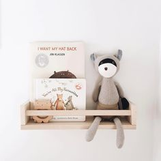 Darling shelfie by @kate_makehey. It's Max Raccoon's favorite seat in the house ☺️. #hazelvillage
