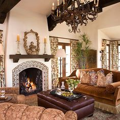 Fireplace, beams, window frames and light fixture