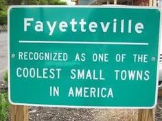 "Fayetteville <3 Though I wouldn't call it small, I suppose that's relative. ""coolest"", however, is universal :D"