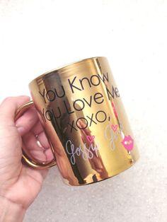 Gossip Girl Gold Glitter Coffee Mug Blair Waldorf XOXO