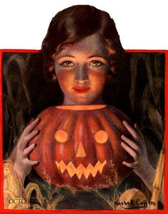 The Farmer's Wife-Flapper and JOL-Vintage Halloween Magazine Cover