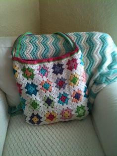 crochet 13 granny square handbag purse bag-o-day | Granny Square Crochet Bag