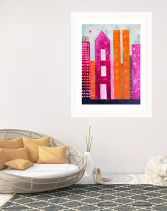a bold and colourful collection with huge impact. Its strong vibrant colours will sure to delivery a big pop of colour into any living space.  Deep rich shades of pink, purple and orange set under blazing bright sunlight makes it a stunning piece for any interiors. All Lelly Lou art prints are printed on high-quality matte paper, signed & numbered  by Lelly herself and embossed with Lelly Lou signature stamp. Limited edition of 250 & available in 3 sizes