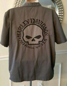 c9cb394427d Men s Harley Davidson Shirt Size L Large Gray Garage Skull Mechanic  Motorcycles  HarleyDavidson  ButtonFront