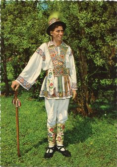 Romania, man in typical calusar folk costume, Arges region Folk Costume, Costumes, Vampire Stories, Moldova, Traditional Art, Romania, Ethnic, Dancer, Kimono Top
