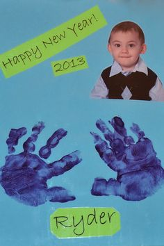 Use a recent photo of your children for Happy New Year Hand Print Art. They can make one each year to compare.  There are lots of fun ideas on Capri + 3 and Caution! Twins at Play! Artsy Play Wednesday