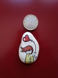 Heart of a Girl Fridge Magnet Original Pebble Art by LivingPebble