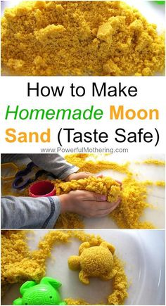 How to Make Homemade Moon Sand Recipe the Taste Safe way for toddlers who still love to eat everything! The homemade moon sand was tons of sensory fun!How to Make Homemade Moon Sand (Taste Safe) - Great for toddlers that keep tasting the sensory items you Diy Crafts For Kids, Projects For Kids, Crafts For Babies, Crafts For 2 Year Olds, Easy Toddler Crafts, Baby Crafts, Craft Projects, Homemade Moon Sand, Diy Moon Sand