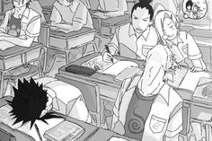 Studying hard, obviously. Ino is dreaming about saskue while leaning on shikamaru and saskue is banging his head on the desk beside naruto while naruto sees what's going on behind him