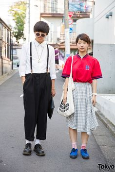 Harajuku Duo w/ Suspenders, Dr. Martens, N'Shukugawa BOYS Tote & Tommy. We met Ponkotsu and Misaki in Harajuku recently, and we liked the outfits they were wearing, so we stopped them for a few snaps. (Tokyo Fashion, 2014)