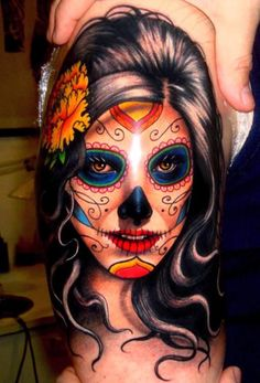 New School Green Day Of The Dead Tattoos For Women | Day of the Dead....