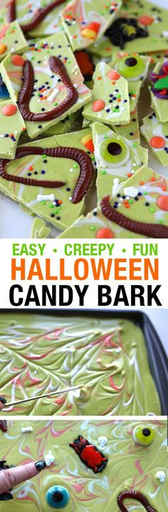 Easy Green Halloween Candy Bark Recipe made with real looking worms, bugs and eyeball gummy candy! Quick and fun Halloween Party Treats for kids.