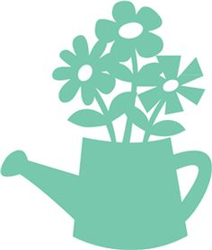 flowers in watering can  I think I'm in love with this shape from the Silhouette Online Store!