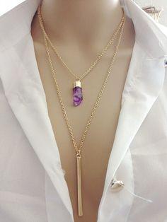 Multi Layer Chain Hot V shape Plastic Druzy Double Chain Necklace