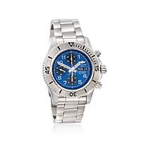 """Breitling Superocean Chronograph Steelfish Men's 44mm Stainless Steel Watch - Blue and Black Dial """