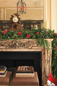 Red Roses & Greenery. #christmas