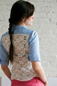 Lace & Chambray shirt diy by peneloping, via Flickr