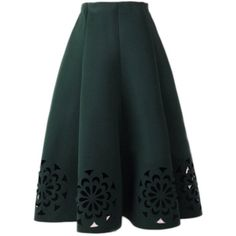 Yoins  Dark Green Midi Full Skirt With Cut Flowers Hem ($27) ❤ liked on Polyvore featuring skirts, yoins, юбки, green, floral midi skirt, green skirt, calf length skirts, floral skirt and flower midi skirt