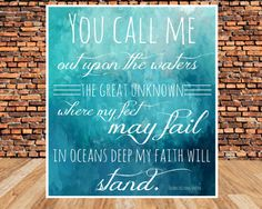 INSTANT DOWNLOAD, Scripture art, Inspirational quote, Hillsong Oceans quote, Digital Printable on Etsy, $5.00