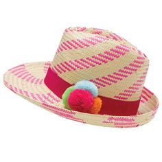 This striped fedora brings the fun factor with its hot pink hue and pom pom details.