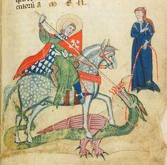 miniature of St George and the Dragon, Verona second half of 13th century (1270), Biblioteca Civica, Verona, Italië