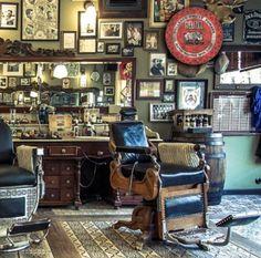Daily Man Up Photos) - Suburban Men Barber Shop Interior, Barber Shop Decor, Classic Barber Shop, Barbershop Design, Barbershop Ideas, Its A Mans World, Wet Shaving, Barber Chair, Antique Bottles