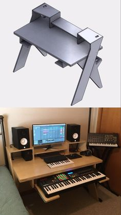 Turned an idea into reality : MusicBattlestations Studio Desk Music, Home Recording Studio Setup, Home Studio Setup, Audio Studio, Studio Table, Studio Ideas, Home Music Rooms, Music Bedroom, Studio Furniture
