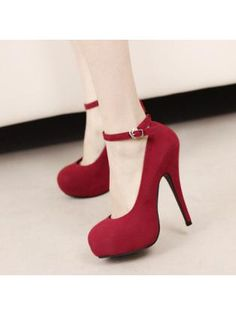 Platform Red Suede Ankle Strap Stiletto Heel Pumps