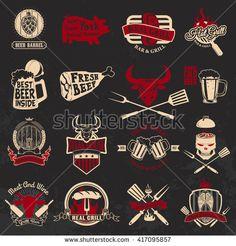 Set of the grill, barbecue, fresh beer, steak house labels and emblems on grunge background. Design elements for logo, label, emblem, badge, sign.