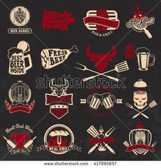 Set of the grill, barbecue, fresh beer, steak house labels and emblems on grunge background. Design elements for logo, label, emblem, badge, sign.