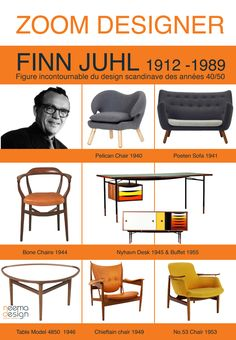 Finn Juhl - - icons of the Century (Furniture Designs Industrial) Mcm Furniture, Danish Furniture, Furniture Styles, Vintage Furniture, Furniture Design, Interior Design History, Modern Interior Design, Mid Century Modern Design, Mid Century Modern Furniture