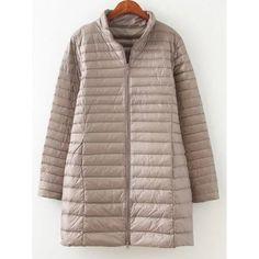 Textured Zipped Plus Size Down Coat - Khaki 4xl Mobile