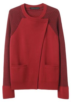 Proenza Schouler ~ Asymmetric Cardigan Love the sweater/jacket combination and color