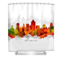 Salt Lake City Utah Cityscape 15 Shower Curtain by Aged Pixel