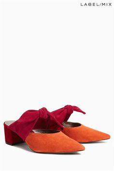 Mix/Isa Arfen Orange/Pink Colourblock Bow Mule
