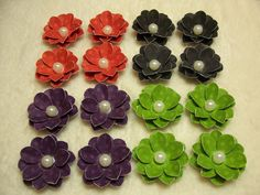 Items similar to Handmade Paper Piece Set of Very Pretty Halloween Inspired Scrapbook Paper Flower Mini Daisies on Etsy Scrapbook Paper, Scrapbooking, Halloween Scrapbook, Pretty Halloween, Flower Making, Paper Flowers, Daisy, Mini, How To Make