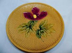 GS Zell Majolica germany dessert plate basket weave hibiscus. $29.99, via Etsy.