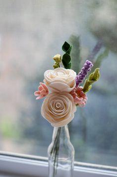 Felt Flower Bouquet / Rose Wildflower & Lavendar by LeaphBoutique