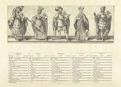 Hendrick Goltzius | Graven Dirk XII, Floris XIII en Dirk XIV, gravin Ada ('Dirk XV') en graaf Willem XVI, Hendrick Goltzius, Willem Thibaut, Claes Jansz. Visscher (II), 1584 - 1585 | Voorstelling van één vrouw met schild en vier mannen met zwaard en schild. Het gaat volgens het bijbehorende onderschrift om graven van Holland Dirk XII, Floris XIII en Dirk XIV, gravin van Holland Ada ('Dirk XV', volgens titel onderschrift) en graaf van Holland Willem XVI (bedoeld zijn Dirk VI, Floris III, Dirk…